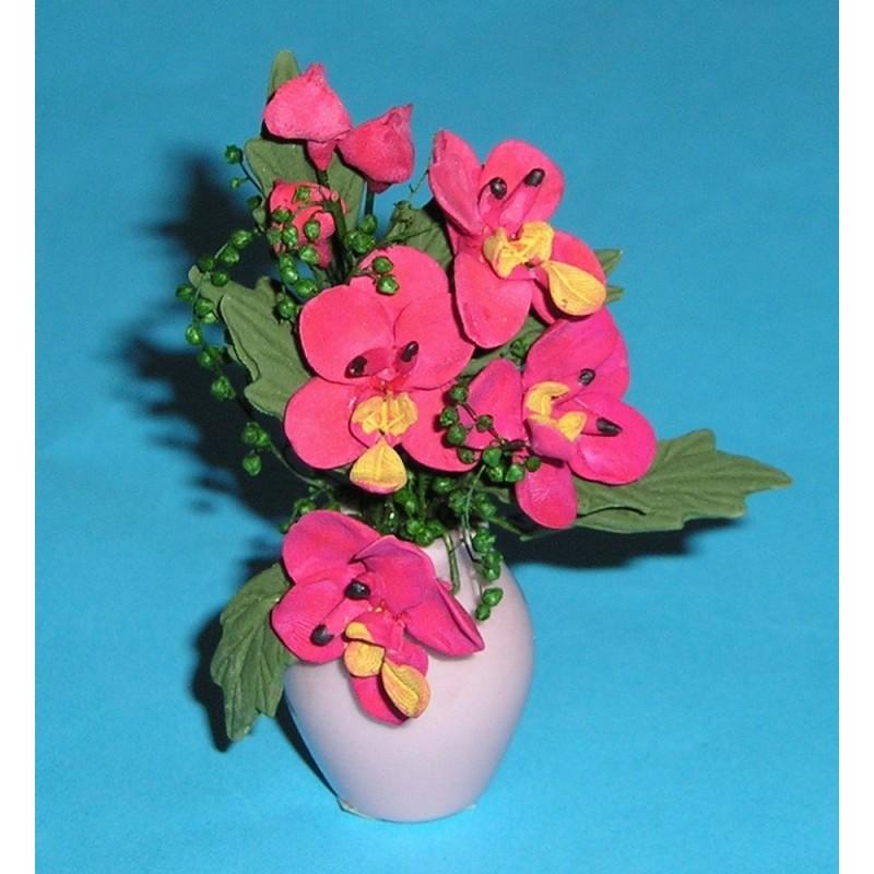 FLW008 Red Flowers in Pink Vase