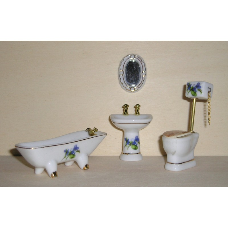 1/24th Scale T009 Ceramic Bathroom - Deluxe with H/T Toilet
