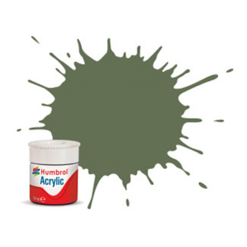 Humbrol 14ml Acrylic #102 (6) Army Green Matt (+30% extra free)