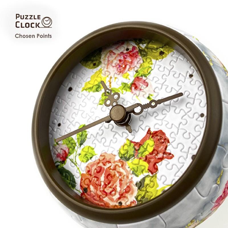 Jigsaw Clock KC1046 Singing Birds and Fragrant Flowers - New
